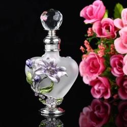 Vintage - szklana butelka na perfumy w kształcie serca - wielokrotnego napełniania - ręczne malowana - 5ml