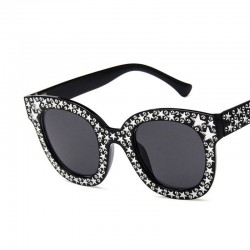 Retro square sunglasses - with crystals - UV400