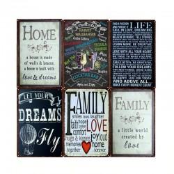 Regulamin domu rodzinnego i cytaty - metalowa tabliczka - plakat na ścianę