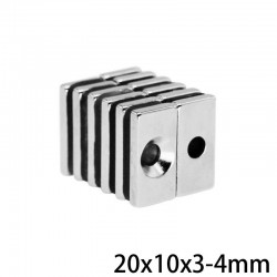 N35 - neodymium magnet - powerful block - with 4mm hole - 20 * 10 * 3mm - 5 - 100 pieces