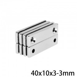 N35 - neodymium magnet - with 2 4mm holes - 40 * 10 * 3mm - 5 - 10 - 20 - 30 - 50 pieces