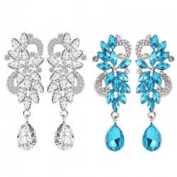 Crystal flowers - luxurious drop earrings