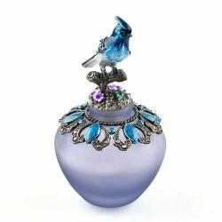 Vintage ręcznie robiona szklana butelka na perfumy - wielokrotnego napełniania - niebieski ptak - 40ml