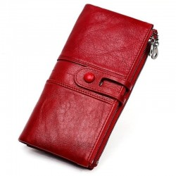 Long wallet with zipper - genuine leather