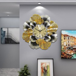Liść miłorzębu - luksusowy zegar ścienny - kwarcowy - 60cm