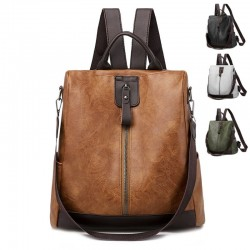 Retro leather backpack / shoulder bag with zippers