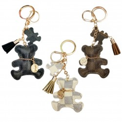 Leather bear keychain - with tassels
