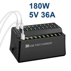 180W 36A - szybkie ładowanie - Inteligentna ładowarka USB z 30 portami USB - dla iPhone - Samsung