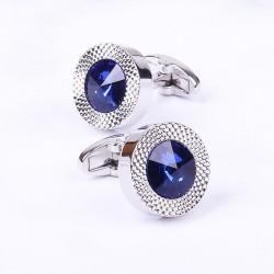 Round blue crystal cufflinks - 2 pieces