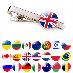Tie clip with national flags - 30 countries