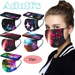 Mouth / face protective face masks - 3 layer - unisex - butterflies print - 10 pieces