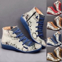 Retro lace-up boots - flat - side zipper - leather