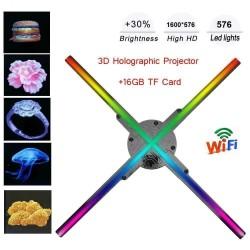 Projektor hologramowy 3D - wyświetlacz - łopatki wentylatora - 576 LED - sterowanie WiFi / PC - 56 cm