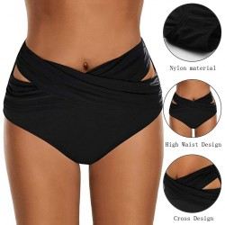 Swimsuit shorts for women - bikini briefs - high waist - crossed design - polyester