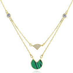 Gold necklace with malachite & zircons - double chain - 925 sterling silver