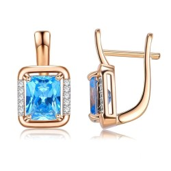 Square gold earrings with blue crystal