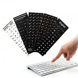 Keyboard stickers - for 10 to 17 inch laptop - English - Spanish - French - Arabic - Russian