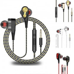 Wired earphones - earpods - high bass - dual drive - with microphone - 3.5mm