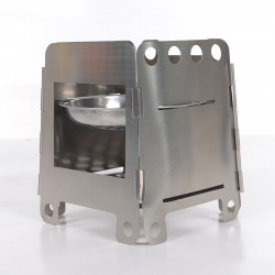 Outdoor / picnic / camping stove - foldable - with a tray - stainless steel