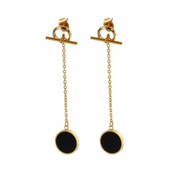 Chain with a black circle - long earrings