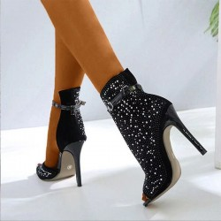 Black glitter ankle high heels - with an ankle strap - half open design