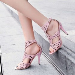 Sexy hollow pumps - high heel sandals - with an ankle strap