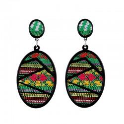 Oval drop earrings - geometric green fabric - Bohemian style