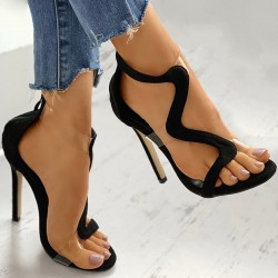 High heel sandals - transparent - snake shaped design