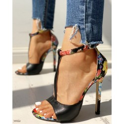 High heel sandals - open toe - with a back zipper - flower design
