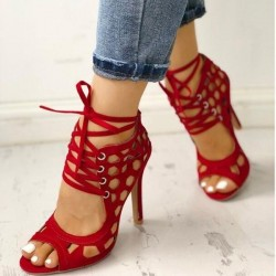 Sexy high heel sandals - lace-up - ankle length - cut-out holes