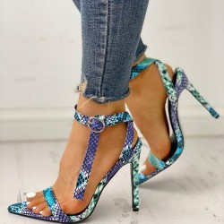High heel sandals - snake skin design - open toe - with ankle strap