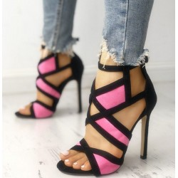 Hollow high heel pumps - open toe - with buckle strap