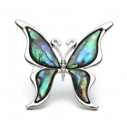Butterfly with a colored shell - a metal brooch