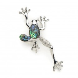 Crystal frog - with shell - vintage brooch