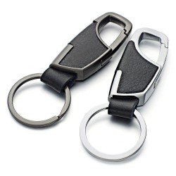 Leather keychain - with key ring