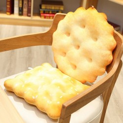 Oreiller en forme de biscuit doré - peluche - circulaire - carré