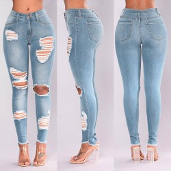 Ripped denim jeans - stretchable - slim - skinny pants