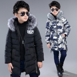 Warm down jacket - with fur collar - for boys