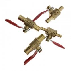 Zawór kulowy z czerwoną rączką - 6mm - 12mm - odcinający dopływ wody / oleju / powietrza / gazu / paliwa - mosiądz