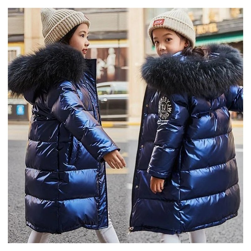Warm thick jacket for kids - with fur hood - waterproof