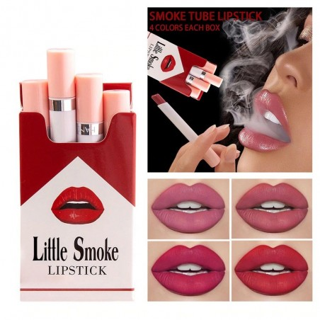 Zigarettenförmiger Lippenstift - samtmatt - wasserdicht - 4 Stück