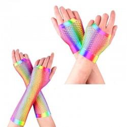 Colorful fishnet gloves - retro mermaid - fingerless - long / short