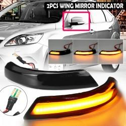 Samochodowy kierunkowskaz bocznego lusterka - wskaźnik - LED - dla Ford Focus MK2 MK3 08-16 Mondeo MK4 - 2 sztuki
