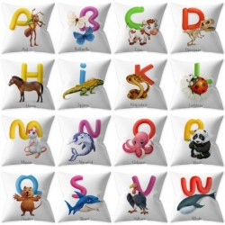 English alphabet cushion cover - animal print - single-sided - 45 * 45cm