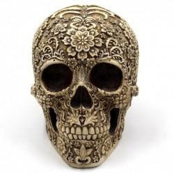 Posąg czaszki - z rzeźbą kwiatową - dekoracja Halloween