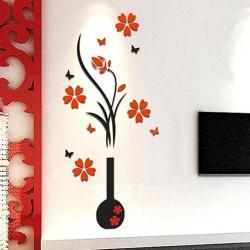 Wazon 3D z drzewem kwiatowym - naklejka ścienna - naklejka - zdejmowana