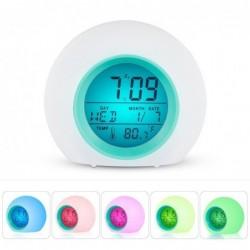 Okrągły budzik LED - kolorowe świecące podświetlenie - termometr - kalendarz - data