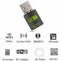 USB 2.0 - odbiornik Wi-Fi - adapter z Bluetooth - 600Mbps 2.4G 5G
