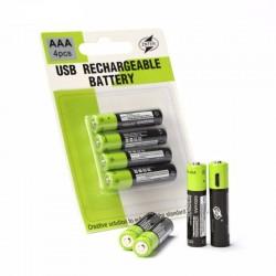 Rechargeable batteries -1.5 v -600mah - 4pcs- USB - quick charging