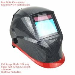 Schweißhelm mit automatischer Verdunkelung - optische Klasse - 100 * 65 mm - Schädel / Flammen / blauer Renner